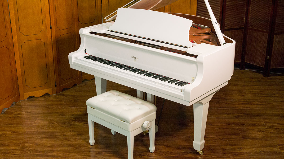 New white weber baby grand piano for sale living pianos for Size baby grand piano