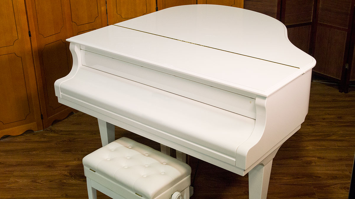 New white weber baby grand piano for sale living pianos for What size is a baby grand piano
