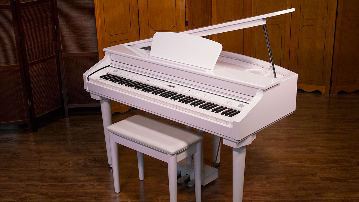 Artesia white digital baby grand piano model ag 28 online for Size of baby grand piano