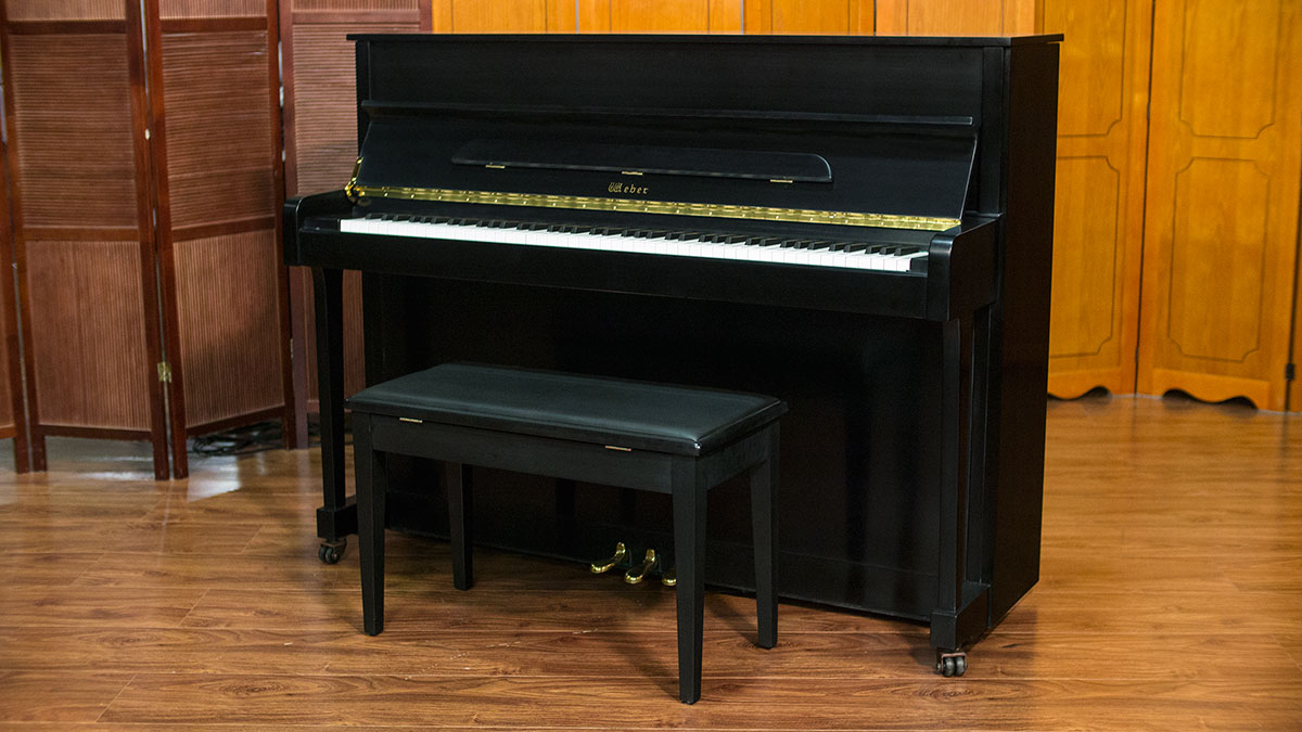 New weber w114 ebony satin upright piano living pianos for Piano upright dimensions