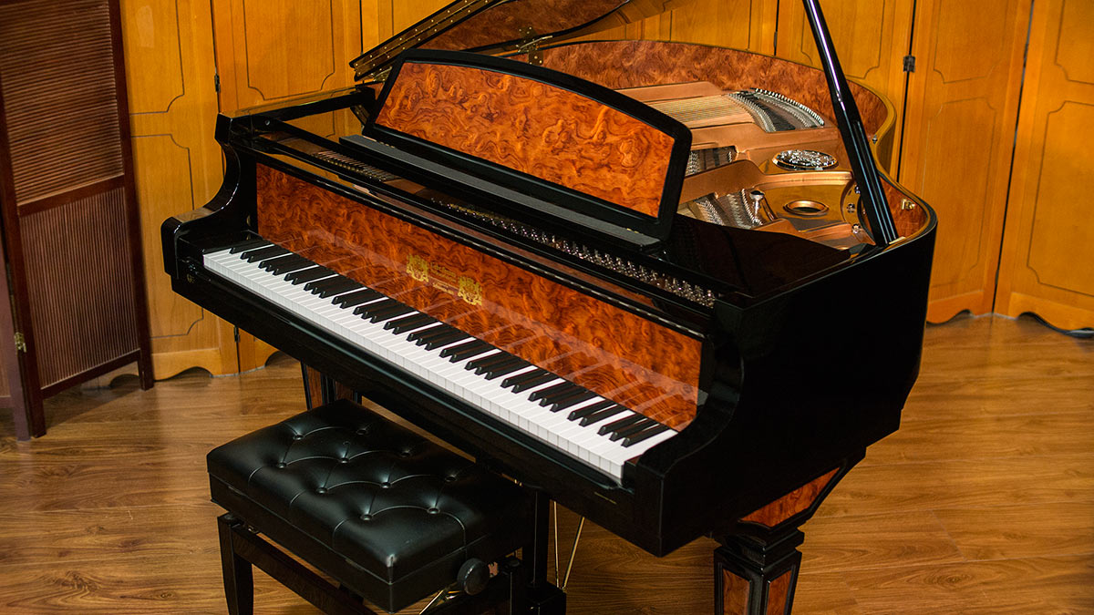 Perzina designer baby grand piano for sale living pianos for Size baby grand piano