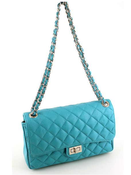 Quilted Clutch Leather Handbag  - Blue