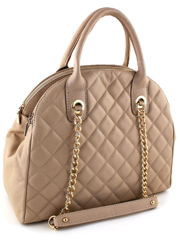 Quilted Handbag Leather Handbag - Beige