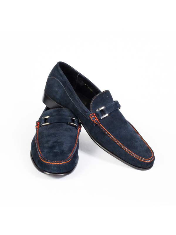 CALFSKIN BLUE SUEDE LOAFER