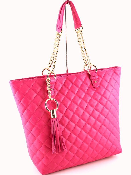 Quilted Shoulder Bag Leather Handbag  - Pink