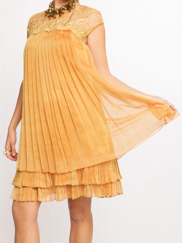 Sleeveless Gold Chiffon Mini