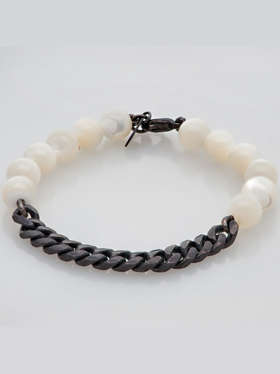 Chained Up Bracelet in Mother of Pearl