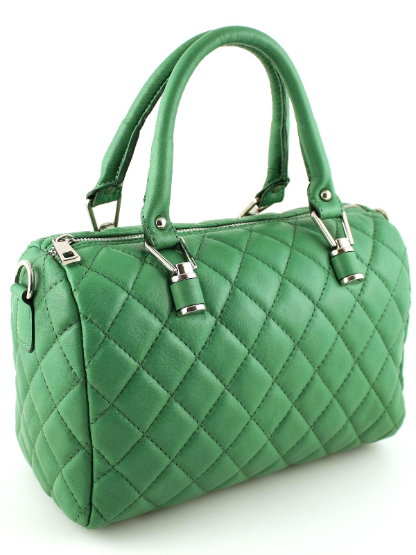 Quilted Satchel Leather Handbag - Green