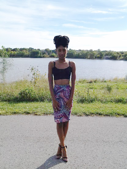 Black Chiffon Crop-Top With Printed Pencil Skirt