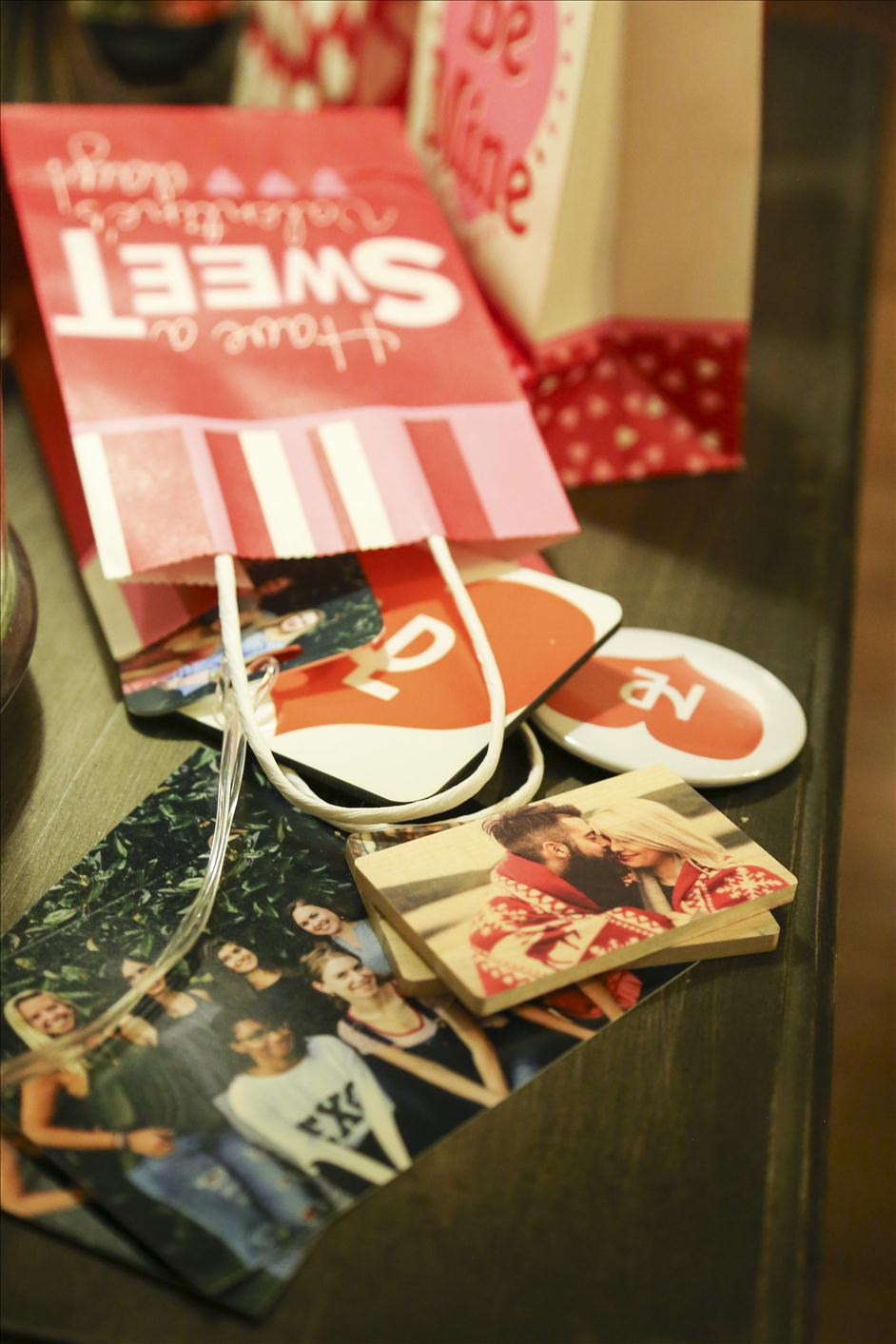 Galentine's Day party gifts // Nations Photo Lab photo prints, photo coasters, custom usb drives, photo buttons