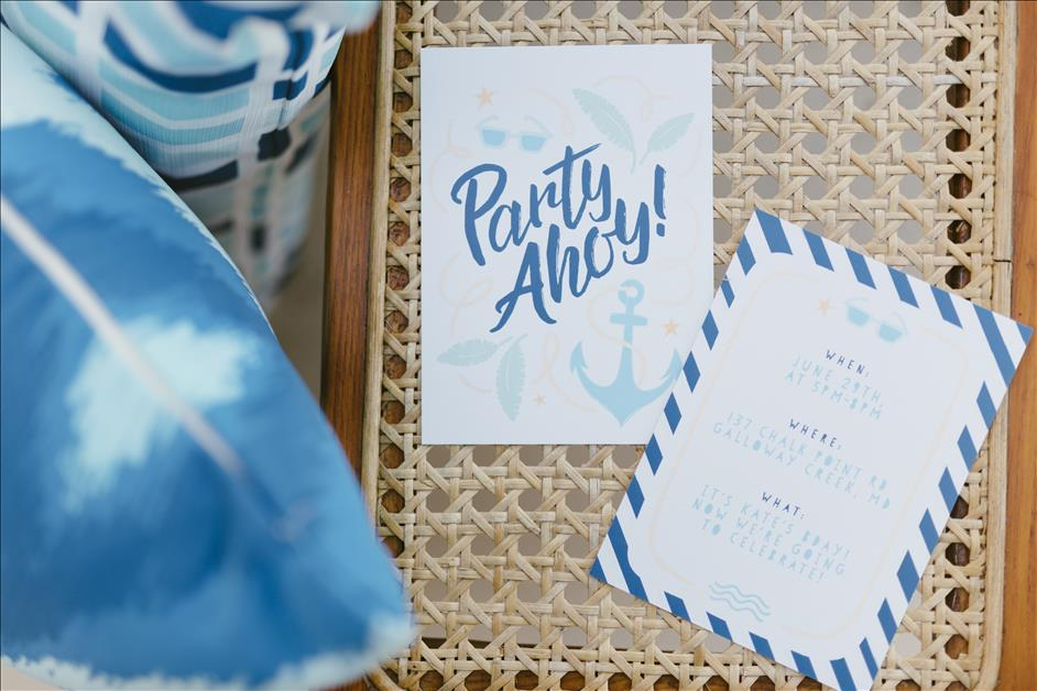 Bayside Birthday Party Inspiration // Free, Downloadable Party Invitations, Party Favors, Party Decor, and Birthday Gifts // Nations Photo Lab Design Team
