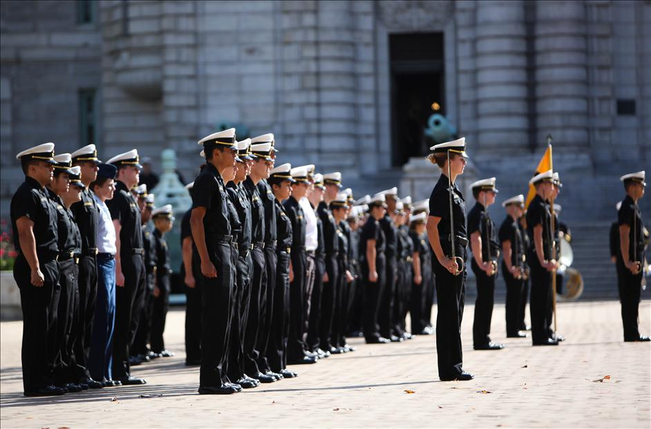 Naval Academy plebes at noon formation