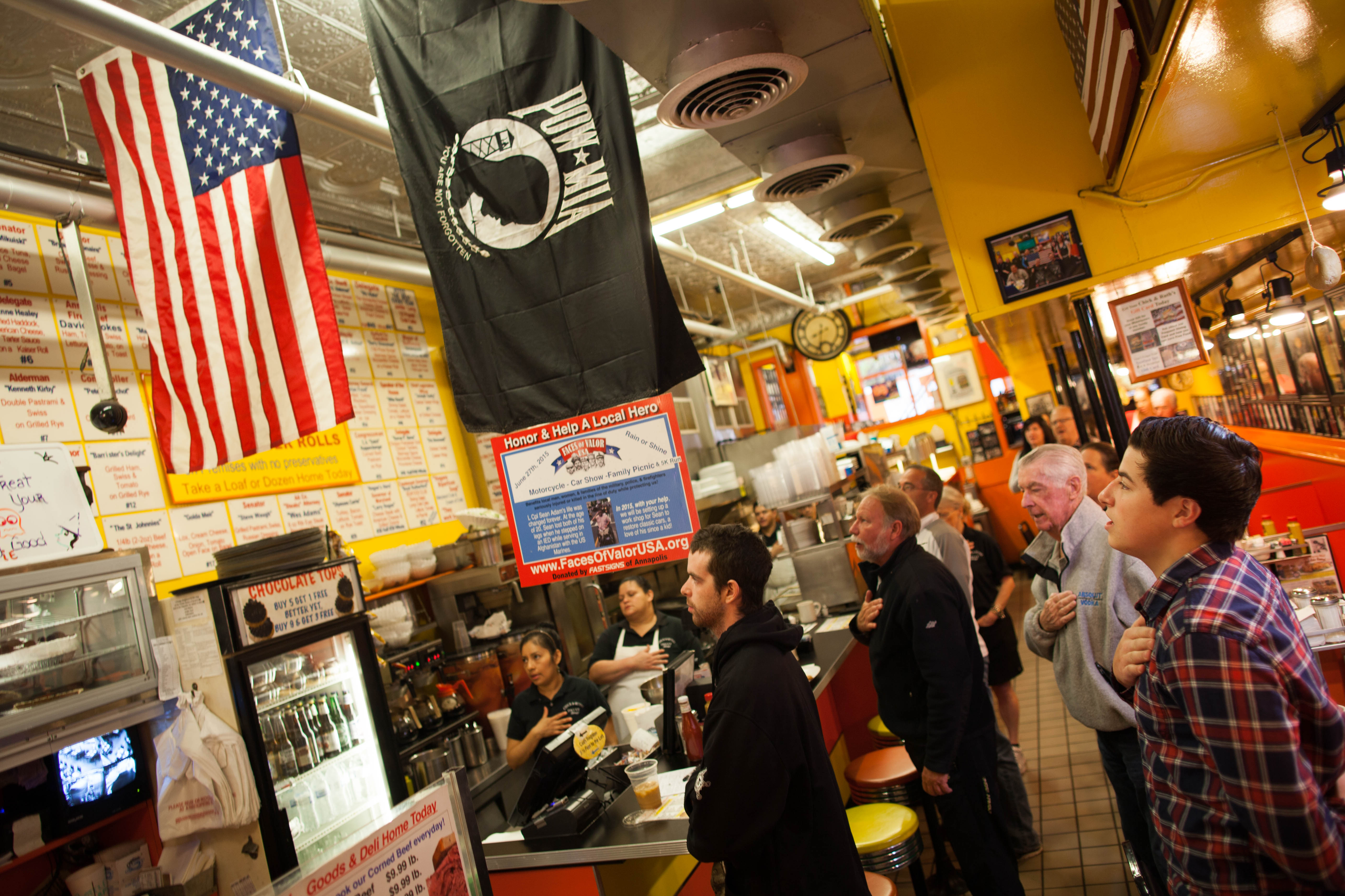 Pledge of allegiance at Chick and Ruth's Delly in Annapolis, MD