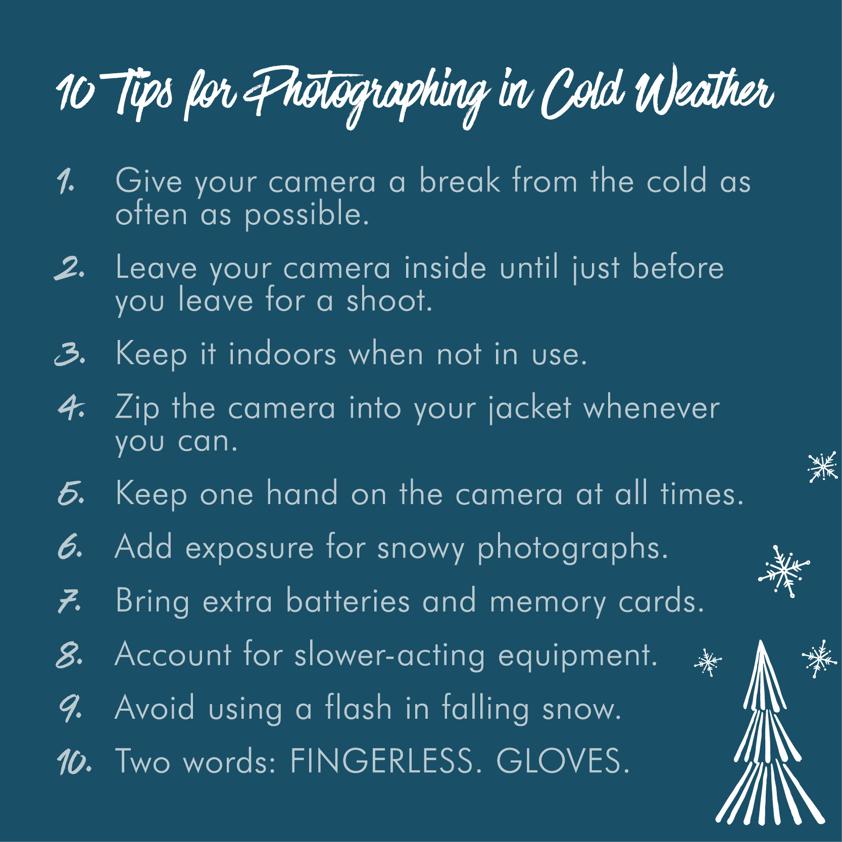 List of 10 tips for photographing in cold weather
