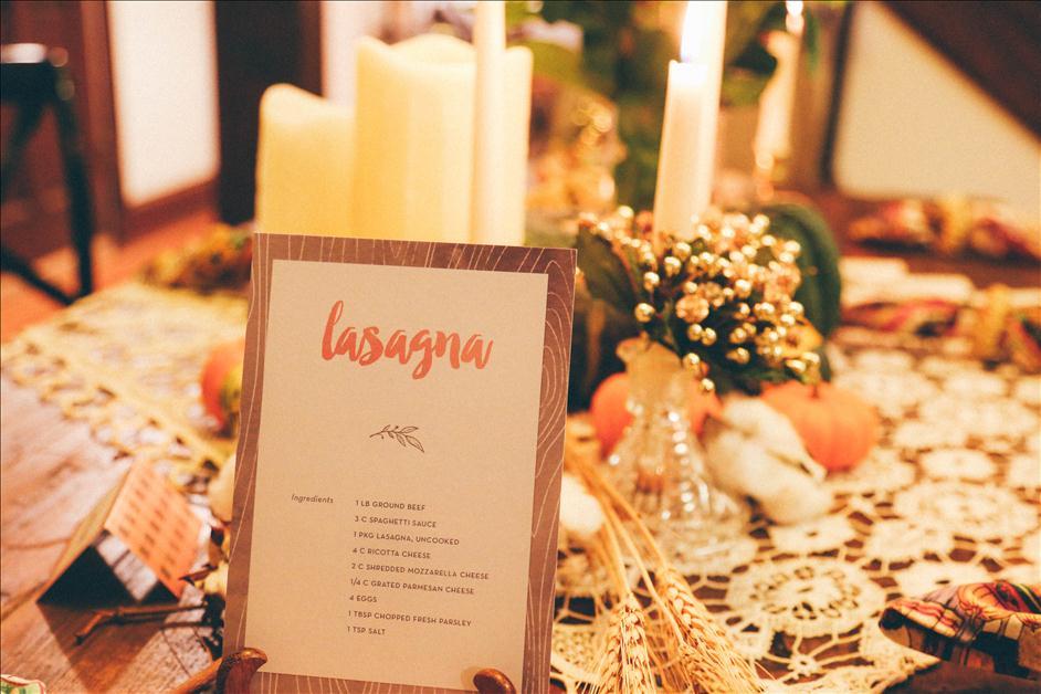Lasagna recipe card at Thanksgiving dinner