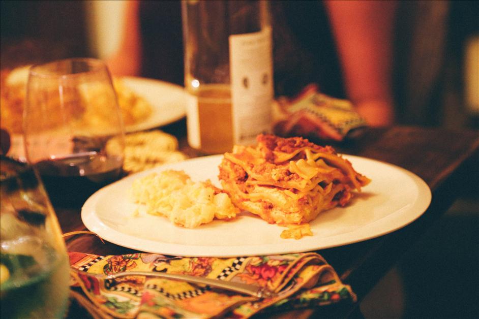 Lasagna and potatoes at Friendsgiving