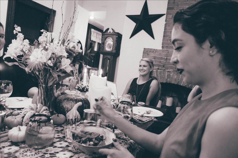 Eating Friendsgiving dinner