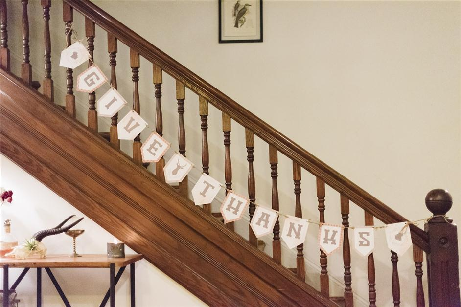 Printable Give Thanks Thanksgiving banner on stairwell