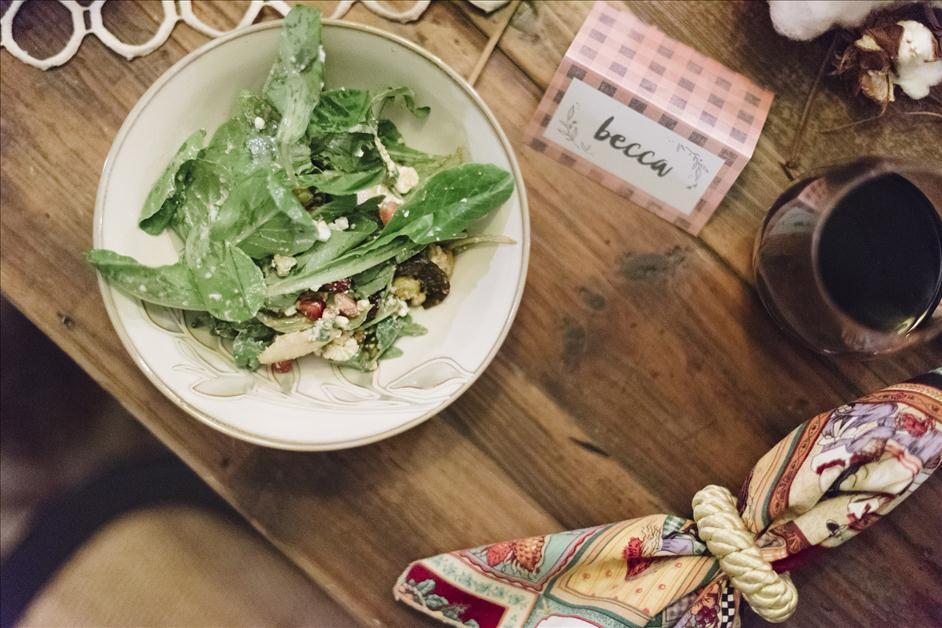 Arugula pear goat cheese salad and Thanksgiving place card