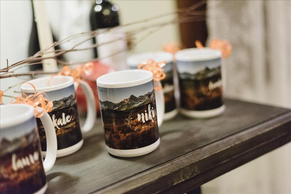 Personalized photo mugs as party favors