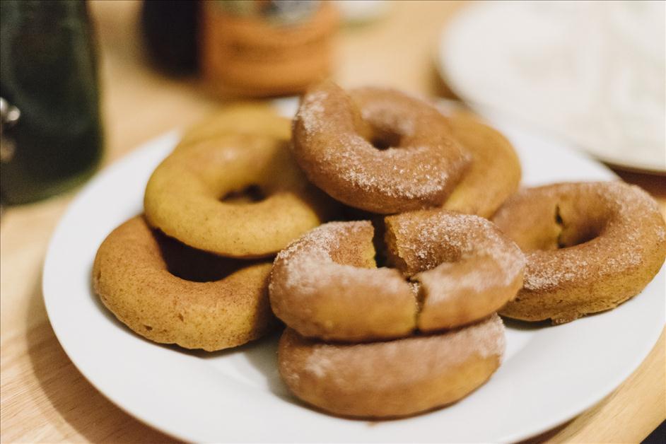 Homemade pumpkin spice donuts
