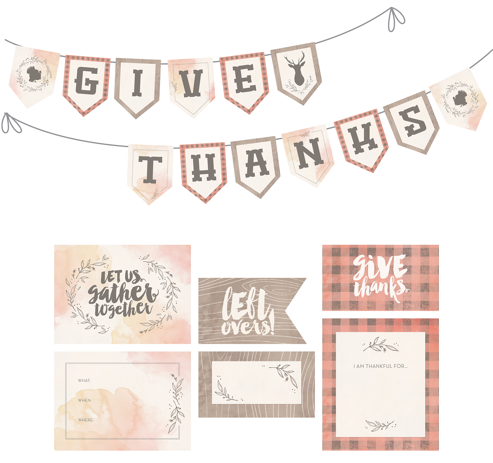 Printable Thanksgiving invitations, place cards, leftover labels, and bunting banner