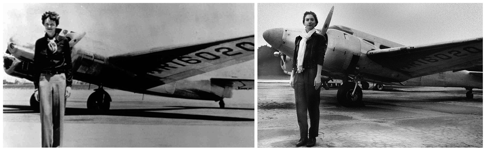 Before and after photo comparison Amelia Earhart Halloween costume and photo replica
