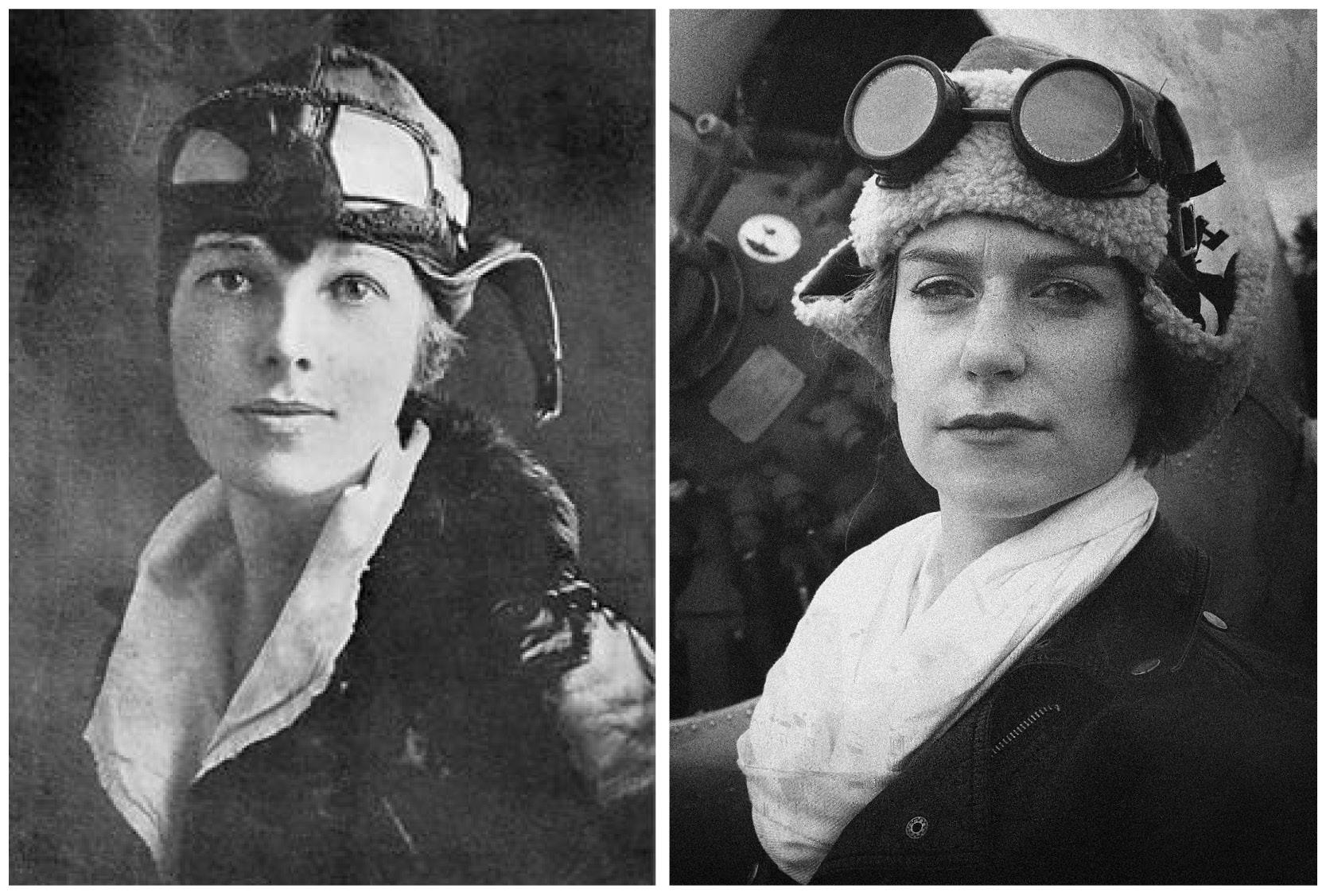 Photo comparison of original Amelia Earhart photo and Amelia Earhart Halloween costume