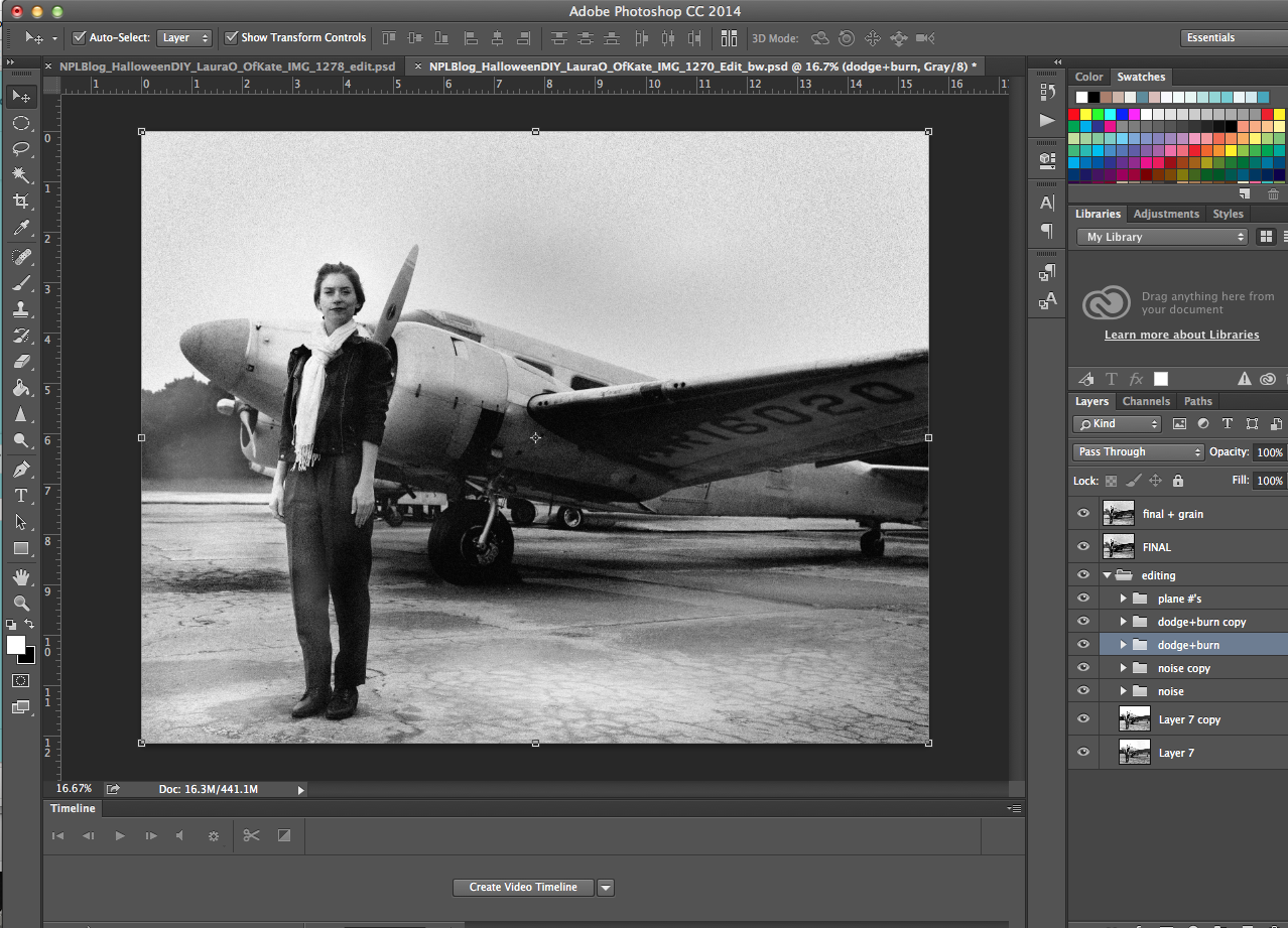 Photoshop layers to replicate famous Amelia Earhart photograph