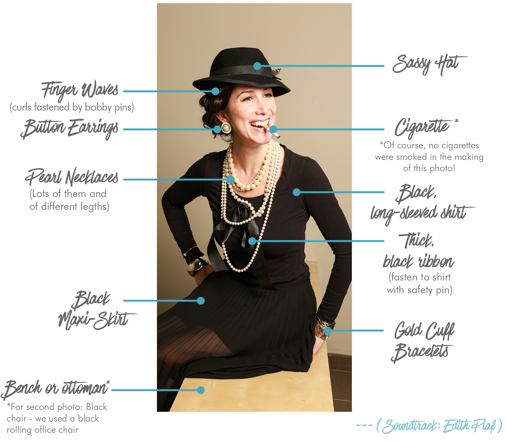 Elements of Coco Chanel Halloween costume