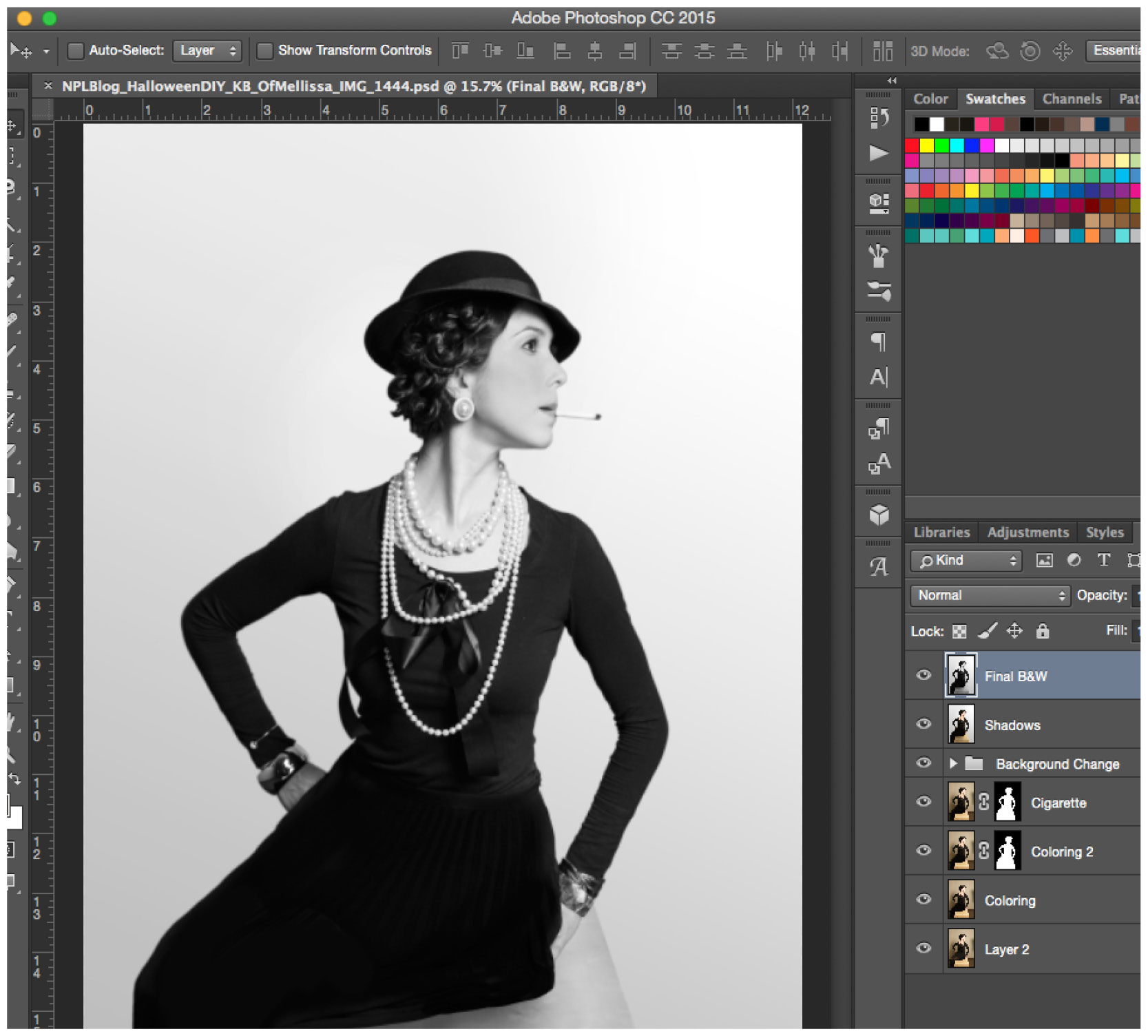 Replica Coco Chanel photograph post processing in Photoshop