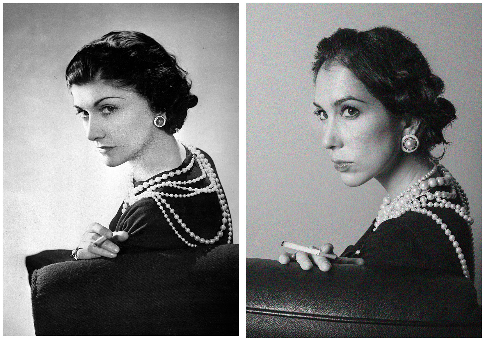 Side by side photo comparison of original and recreated Coco Chanel photograph