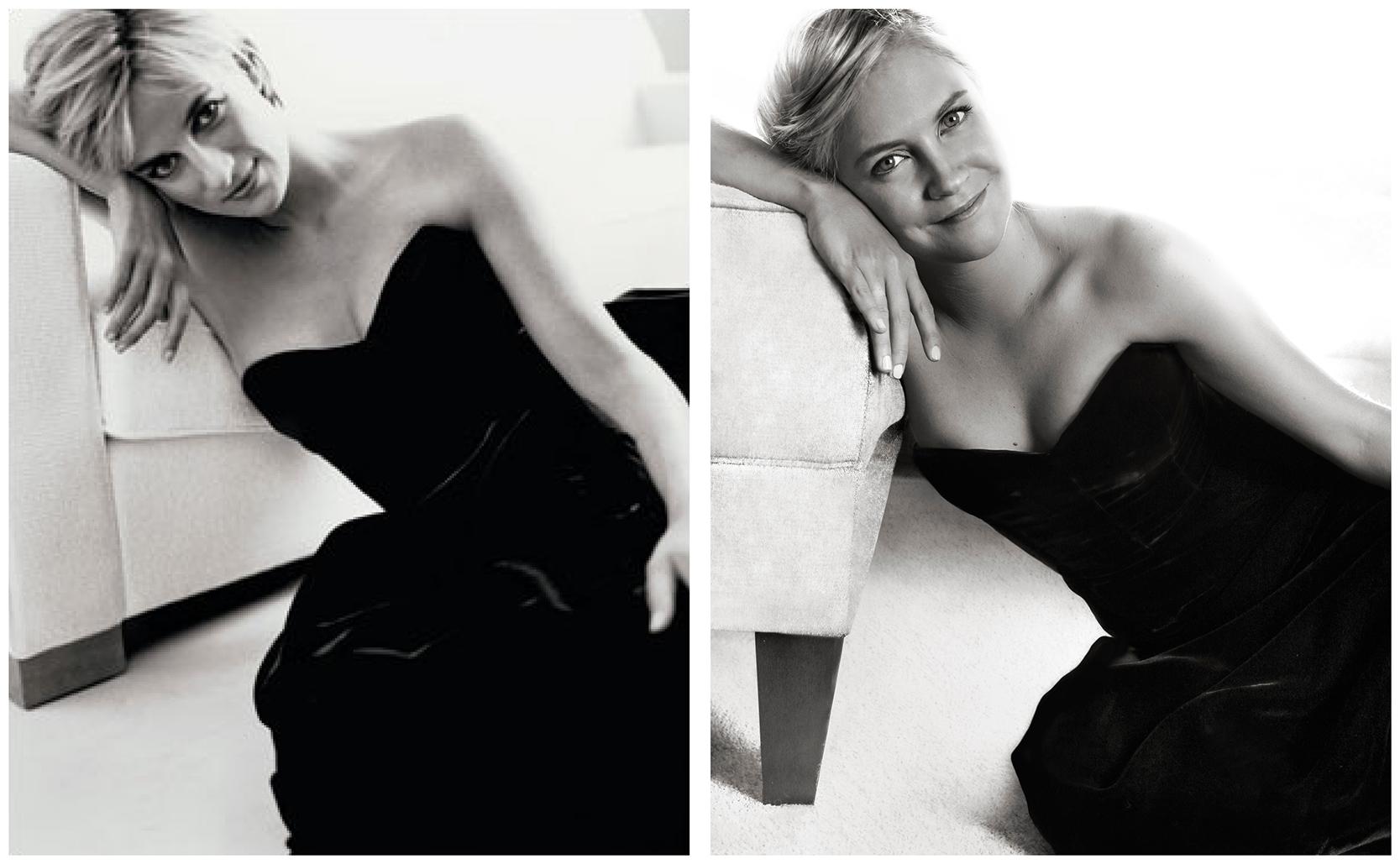 Princess Diana original photo side by side with replica photo