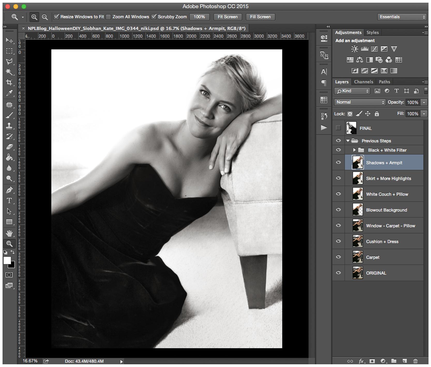 Photoshop screenshot of Princess Diana replica photo