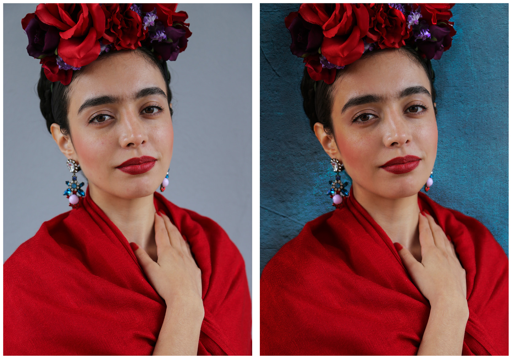 Before and after Photoshop comparison of Frida Kahlo photos