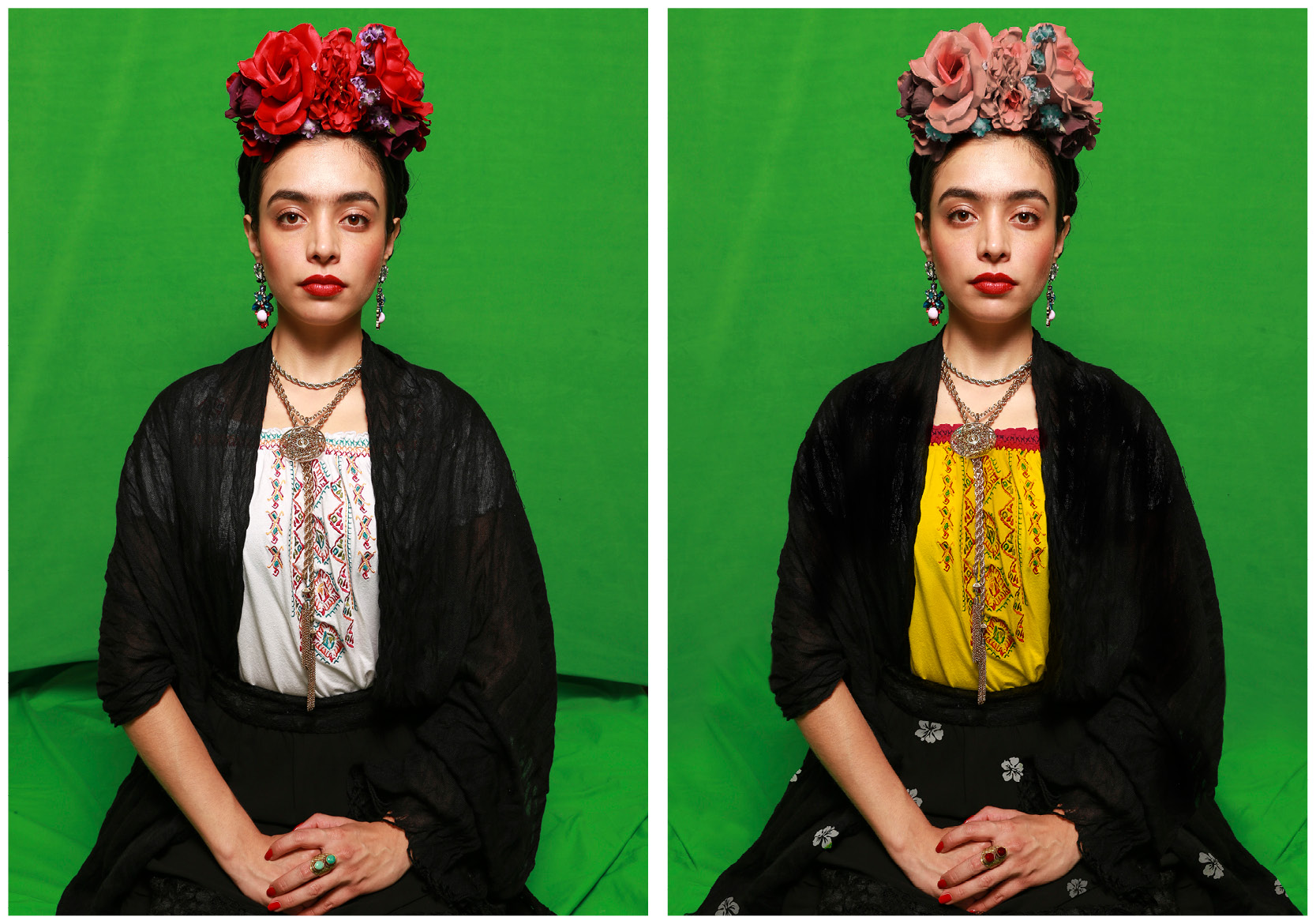 Before and after photos of Photoshop edits to Frida Kahlo replica photos