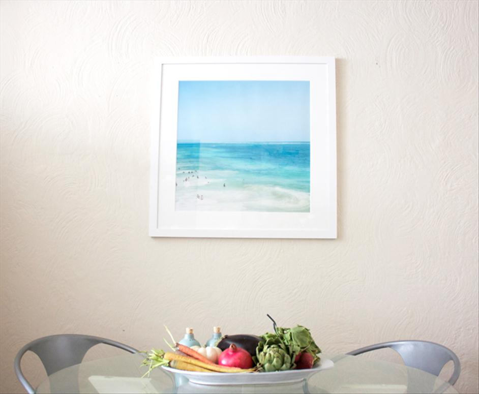 Tulum photograph hanging in kitchen