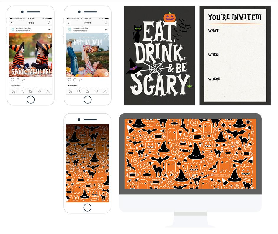 Free downloadable Halloween Party invitations, phone backgrounds, computer wallpapers, and Instagram photo overlays
