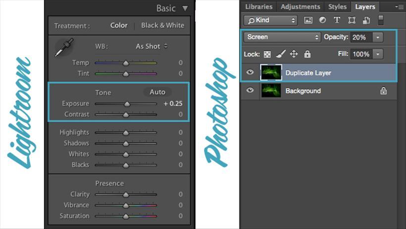 Lightroom and Photoshop screenshots