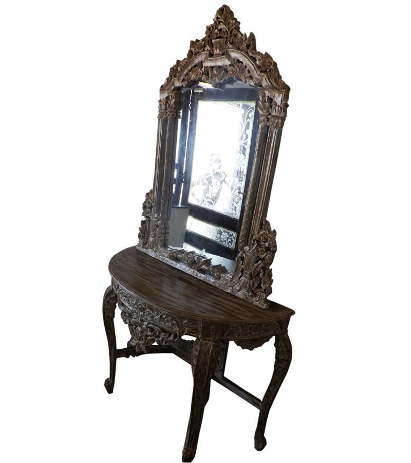 Elegantly Hand Carved Solid Wood Vanity w/ Mirror