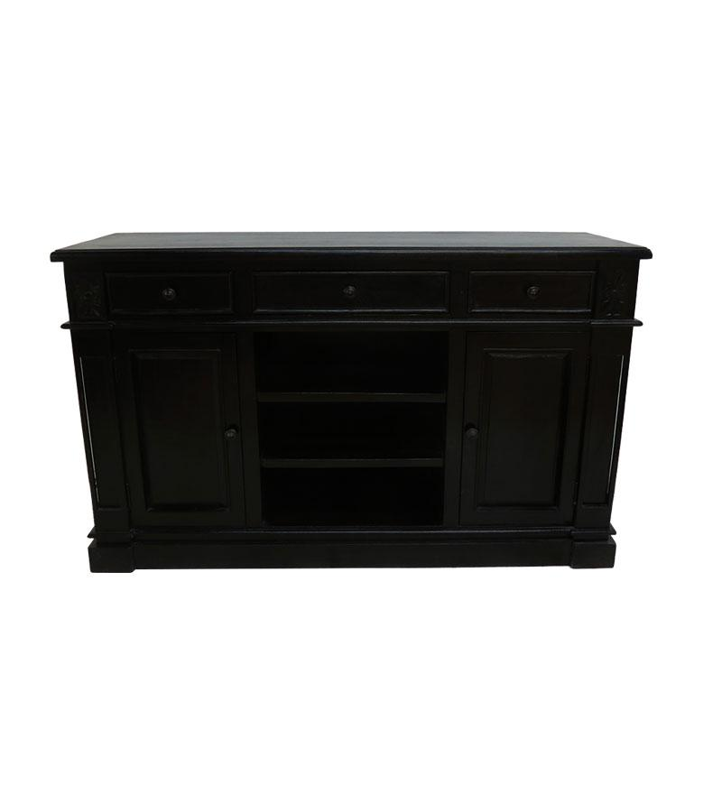 Solid Wood 3-Drawer 3-Open Shelf 2-Door Cabinet