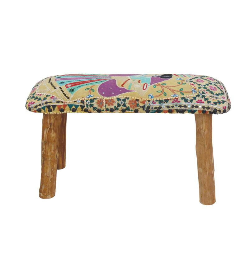 Wide Solid Wood Stool w/ Decorative Fabric