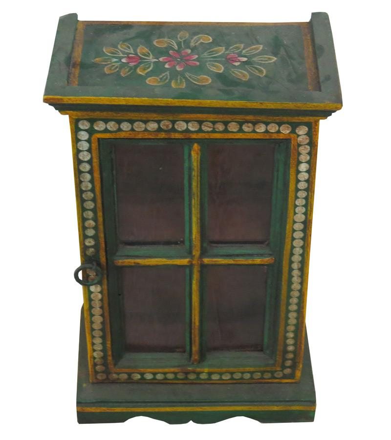 Small Solid Wood & Glass Accessory Cabinet