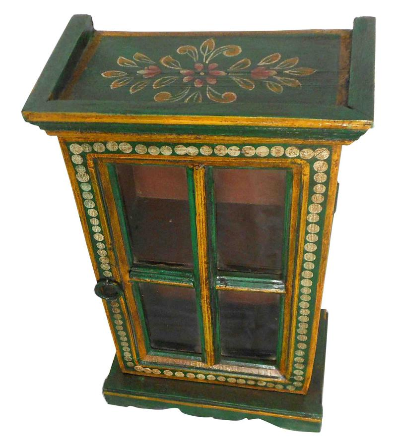 Small Solid Wood Glass Accessory Cabinet