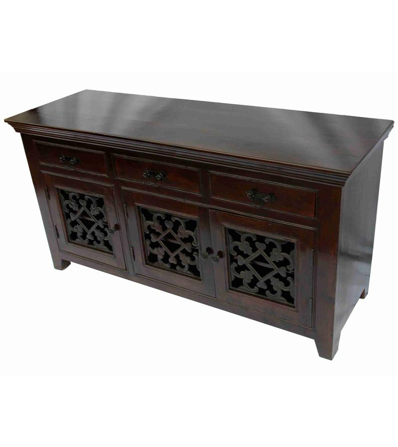 Solid Rosewood Beed Jali 3-Drawer 3-Door Buffet