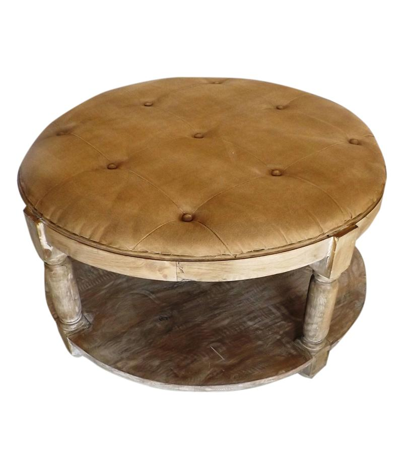 Tufted Round Solid Wood Coffee Table w/ Shelf
