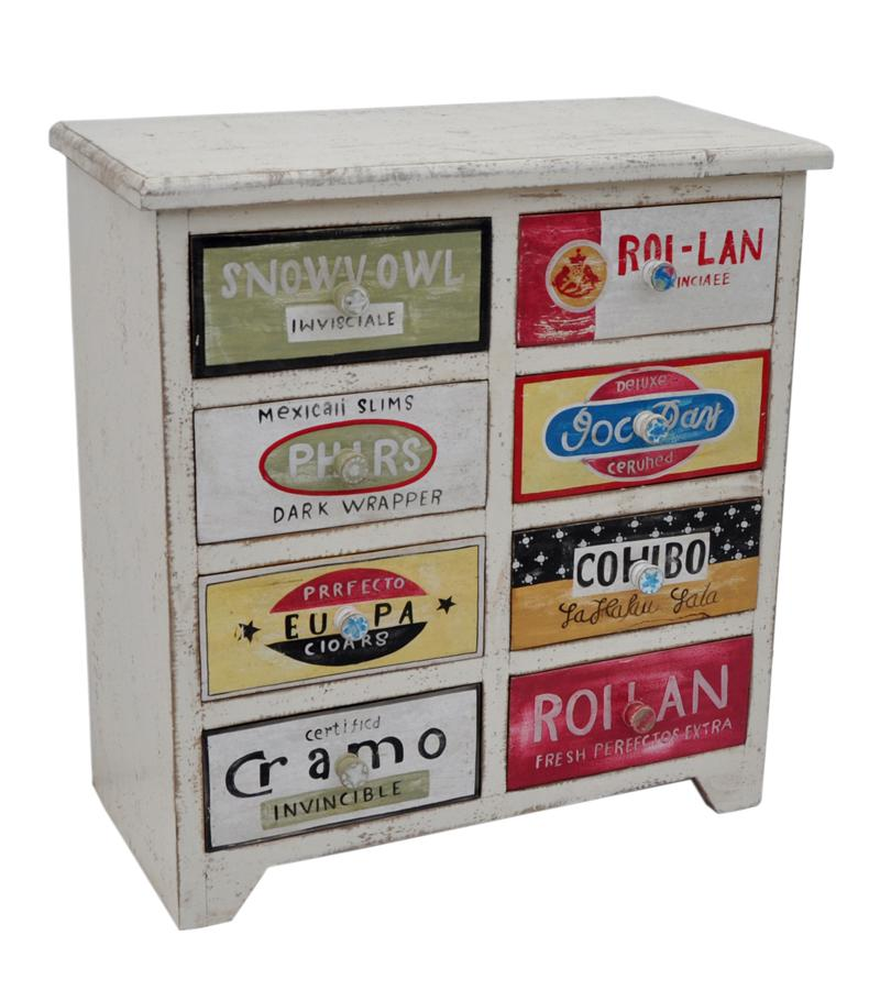 Hand Painted & Decorated Solid Wood 8-Drawer Chest