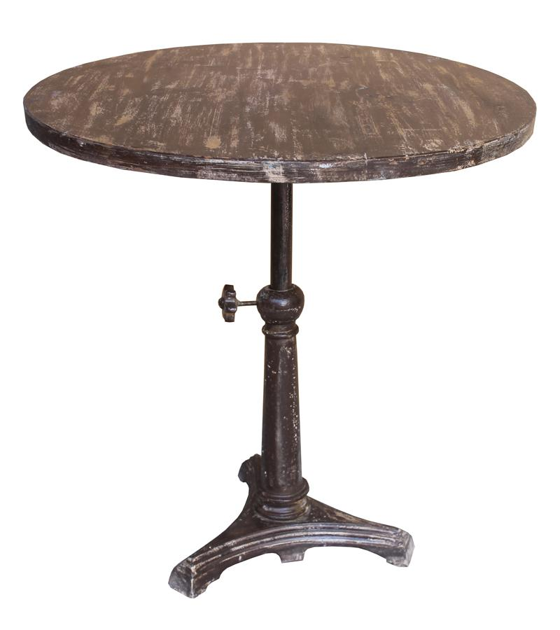 Round Solid Wood & Iron Cranking Bar Table