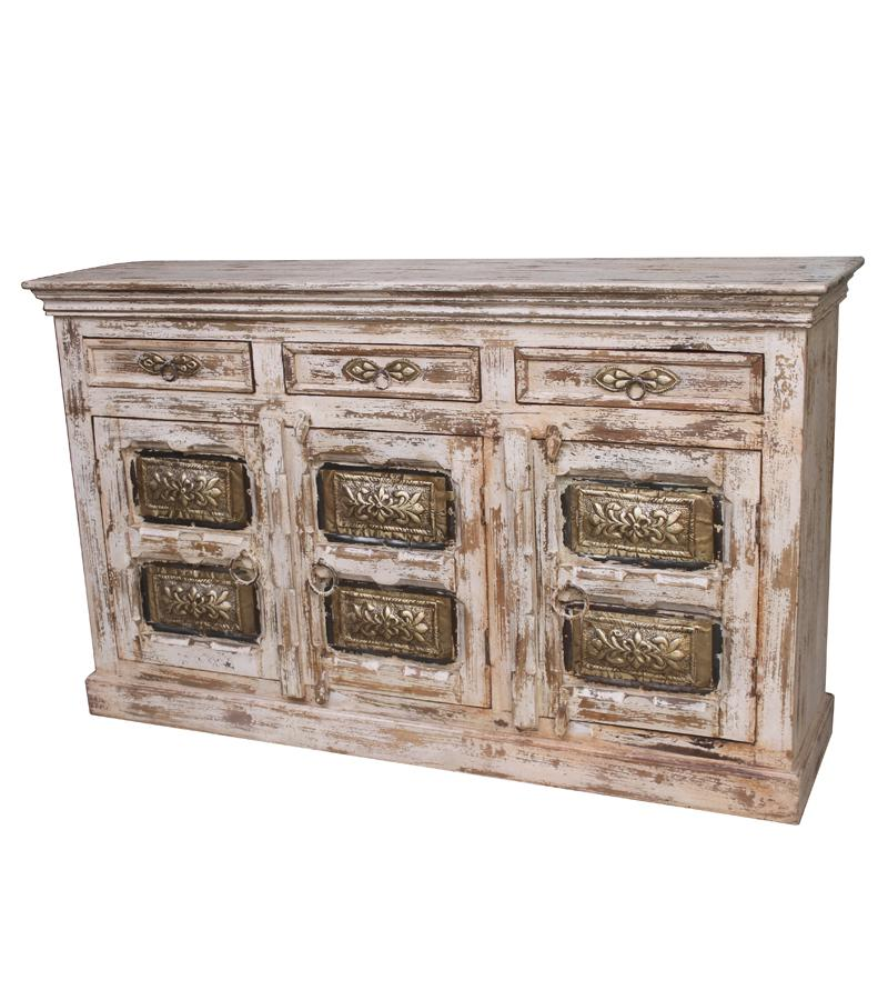 Distressed Solid Wood Sideboard Cabinet w/ Decorative Brass