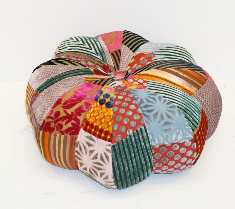 Velvet Patchwork Pumpkin Pouf